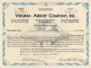 Virginia Airship Company, Inc. 100 shares à 1 $ 11.2.1935 (R 10).