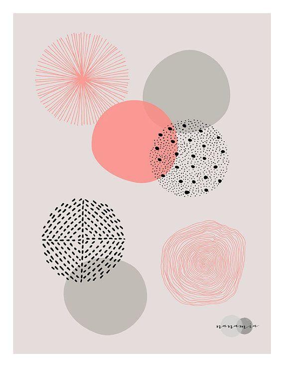Coral Print, Geometric Wall Art, Pastel Print, Pink and Grey, Downloadable Art…