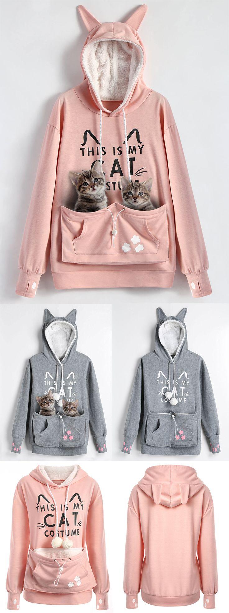 Plus Size Cat Holder Pouch Pocket Hoodie | $15.14(was 34.66) | #plussize #womenfashion #hoodie