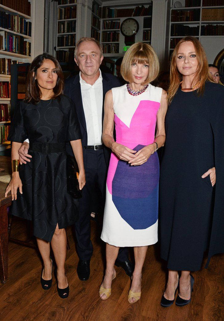 Pin for Later: Celebrities Take London by Storm at Fashion Week's Hottest Events  Salma Hayek and husband Francois-Henri Pinault joined Anna Wintour at Stella McCartney's Green Carpet Collection event on Sunday.