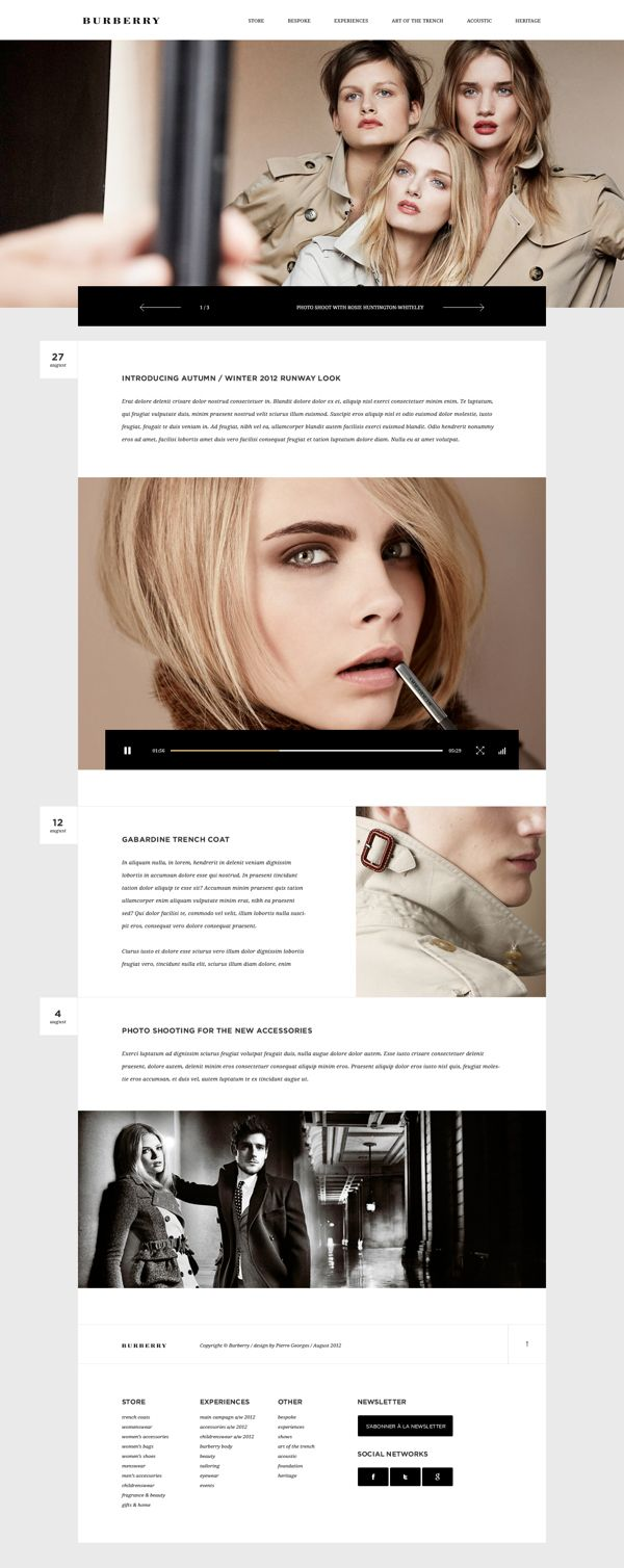 Burberry website by Pierre Georges. Clean look that includes text.