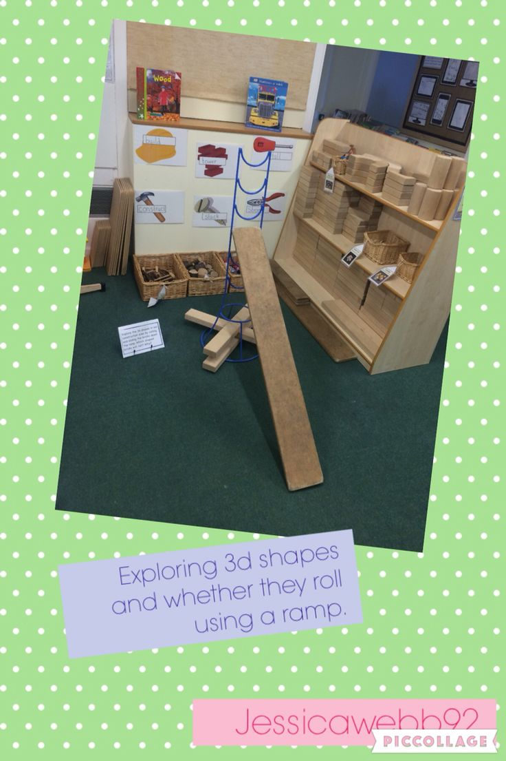Exploring whether 3d shapes roll using a ramp in the construction area. EYFS