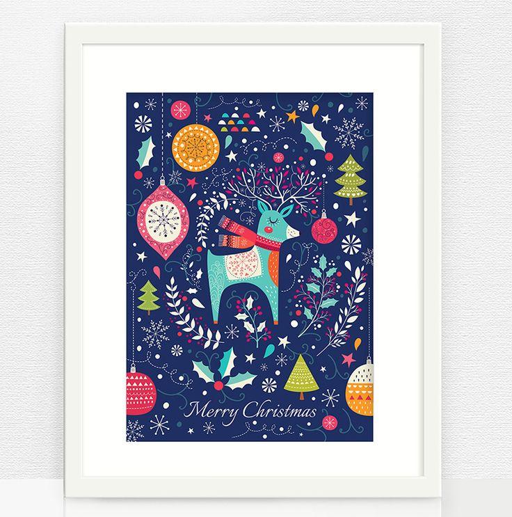 Волшебный постер с рождественским оленёнком