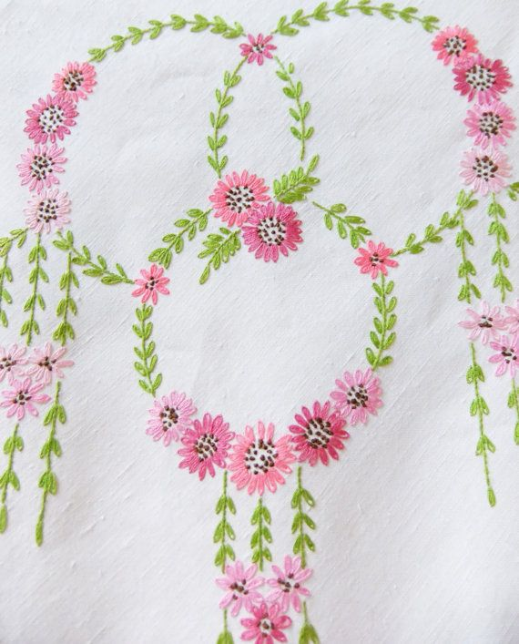 Large embroidered tablecloth hand