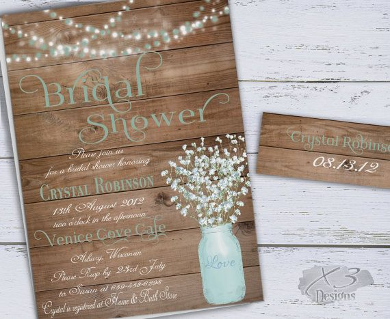 Rustic Bridal Shower Invitation Printable Baby's by X3designs