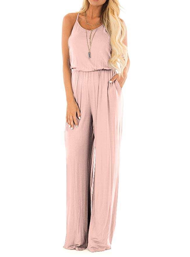fcd374a21 REORIA Women Casual Loose Sleeveless Open Back Wide Leg Pants Romper  Jumpsuits. Fashion trends for SPRING & SUMMER 2019. Blush jumper.