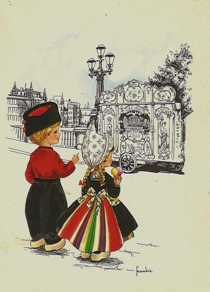 Vintage Holland.jongen n meisje in klederdracht lb xxx.