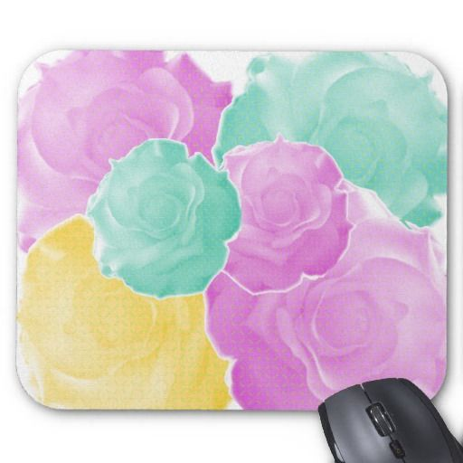Neo Roses in Aqua, Pink, & Gold Mouse Pads