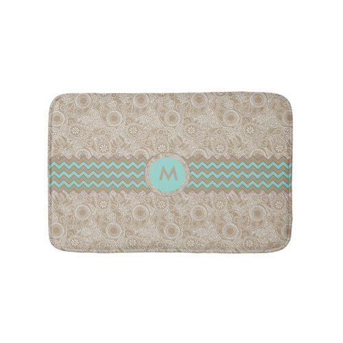Paisley Chevron Monogram Beige PCMX Bathroom Mat