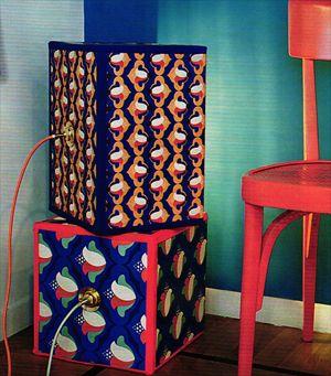 #recycling #ceiling #lamp #paper #patterned Lampada con scatolone e carta da regalo riciclo creativo