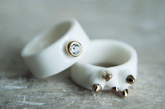 Porzellan Schmuck, ungewöhnliche Ring, Band Ring, minimal Ring, Goldring, weißen…