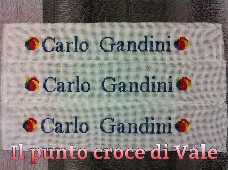 Fasce di tela aida con nome realizzate per Veronica (Monzambano MN).  Visita la mia pagina Facebook IL PUNTO CROCE DI VALE.