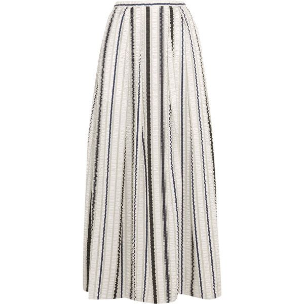 Peter Pilotto Latmos ruched satin and chiffon maxi skirt (1,630 MYR) ❤ liked on Polyvore featuring skirts, white, satin maxi skirt, chiffon maxi skirt, long skirts, long white skirt and maxi skirt
