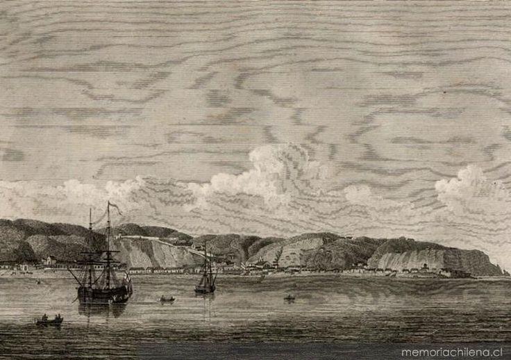 """Lámina:  """"La Villa de Valparaíso""""   1795         Docto. """"Expediciones Inglesas en Chile""""        Fuente:   Memoria Chilena"""