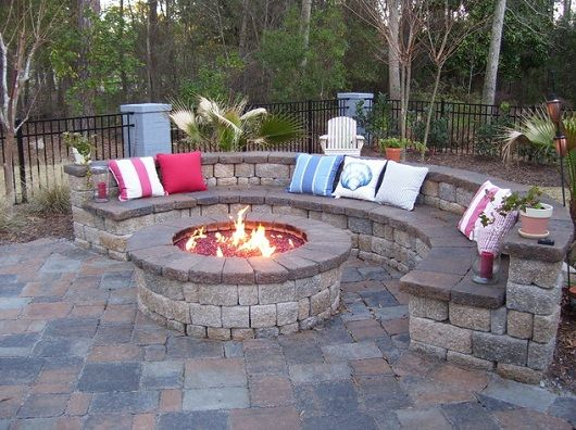 firepit with seating area | The demilune seating area perfectly accentuates the circular fire pit ...