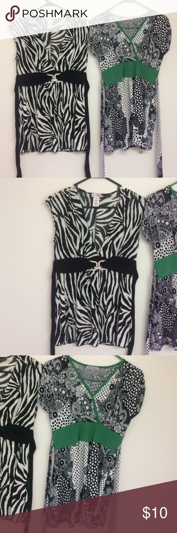 2 Body Central dress blouses Worn only a handful of times and haven't been worn in a while. Both are size medium, 92%polyester 8%spandex. Body Central Tops Blouses