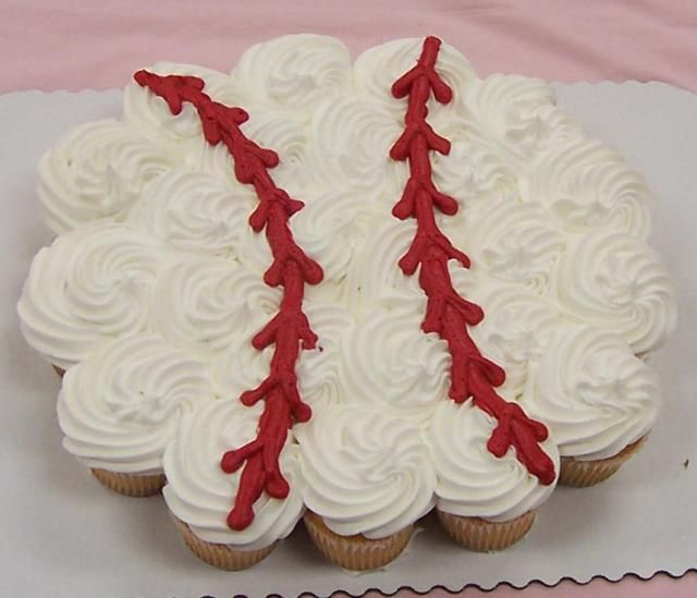 I am needing helpful ideas with cupcake cake in the shape of a baseball or baseball field. My nephew is