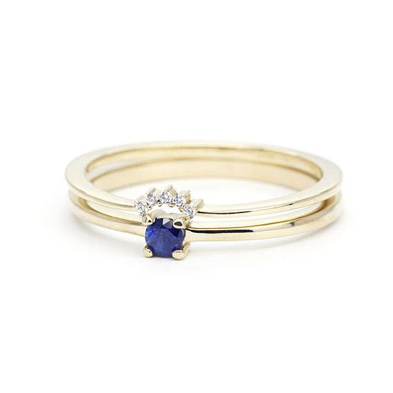 Curved Wedding Band Engagement Ring Blue Sapphire Wedding