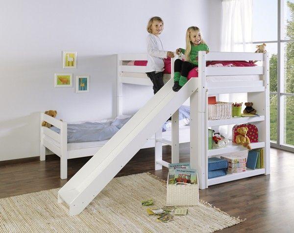 Bennie Hoekstapelbed Wit + Glijbaan | Baby & Tiener
