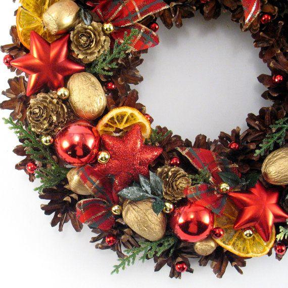 Christmas Wreath Pinecone Wreath Holiday Wreath by ZielonePalce