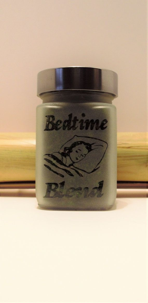 Bedtime Blend Etched Glass Stash Jar Free by Twisted420Glass