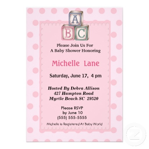 ABC Blocks for Baby Shower | Baby Blocks Girl Shower Invitation from Zazzle.com