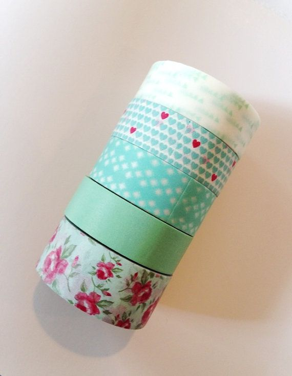Mint Green Washi Tape Aqua Wedding Rose Solid By PrettyTape