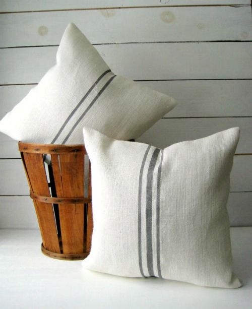 Grain sack stripe pillow |Farmhouse Style Pillows you can DIY or Buy for under $25 #affiliate | www.knickoftime.net