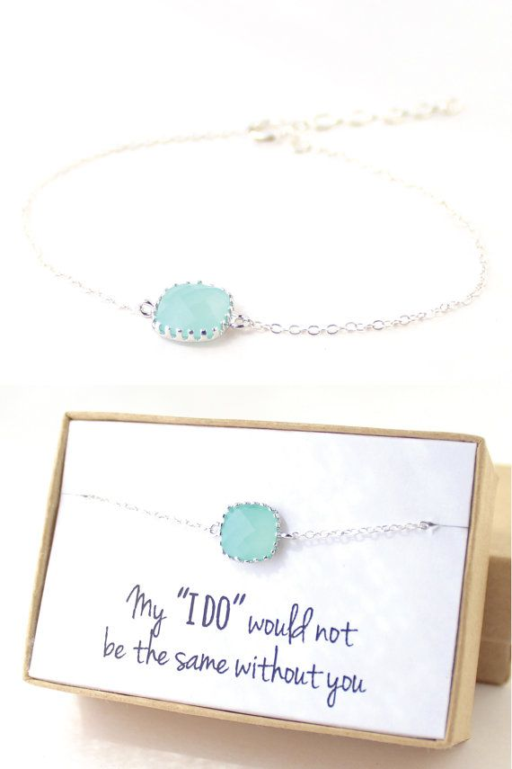 Mint Green / Silver Single Square Bracelet - Green Jewelry - Mint Bracelets Delicate Bracelet Mint Green Bridesmaid Gift - BS1#bridesmaids