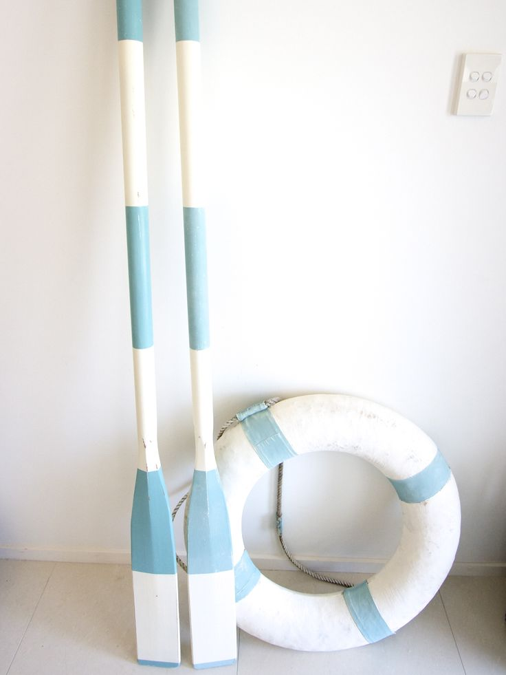 Oars painted blue & white stripes. Now available at www.coastalvintage.com.au