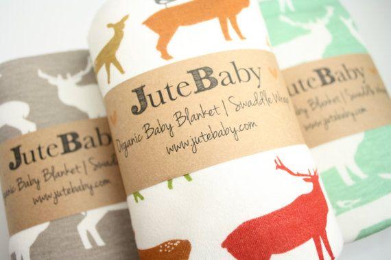 Couverture de bébé bio | Couverture de bébé cerf wapiti | Couverture emmailloter organiques | Couverture de cerf de JuteBaby