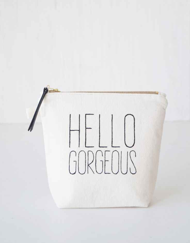 HELLO GORGEOUS makeup pouch. White cosmetic bag. Simple women's fashion. Daily style. Outfit. Beauty. Handmade Etsy