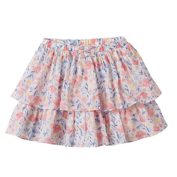 Girls 4-8 SONOMA Goods for Life™ Print Tiered Skort, Girl's, Size: 6X, White Oth
