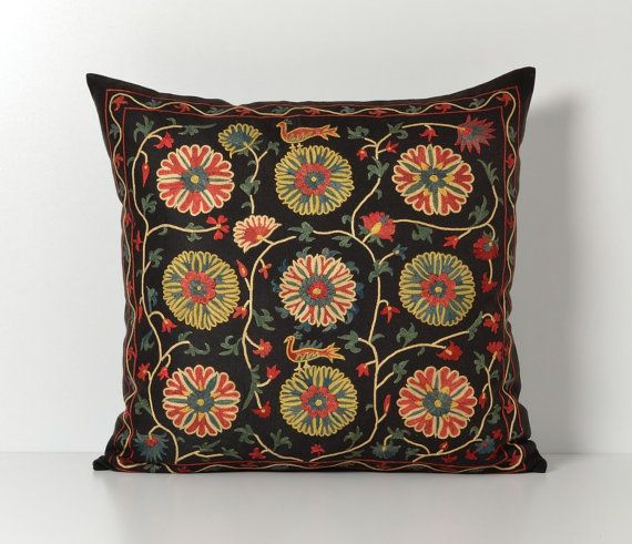 Suzani Pillows  Black Hand Embroidery Floral Vintage by pillowme, $150.00
