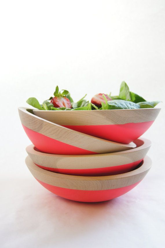 Wooden Salad Bowl 7 Electric PINK by WindandWillowHome on Etsy, $32.00