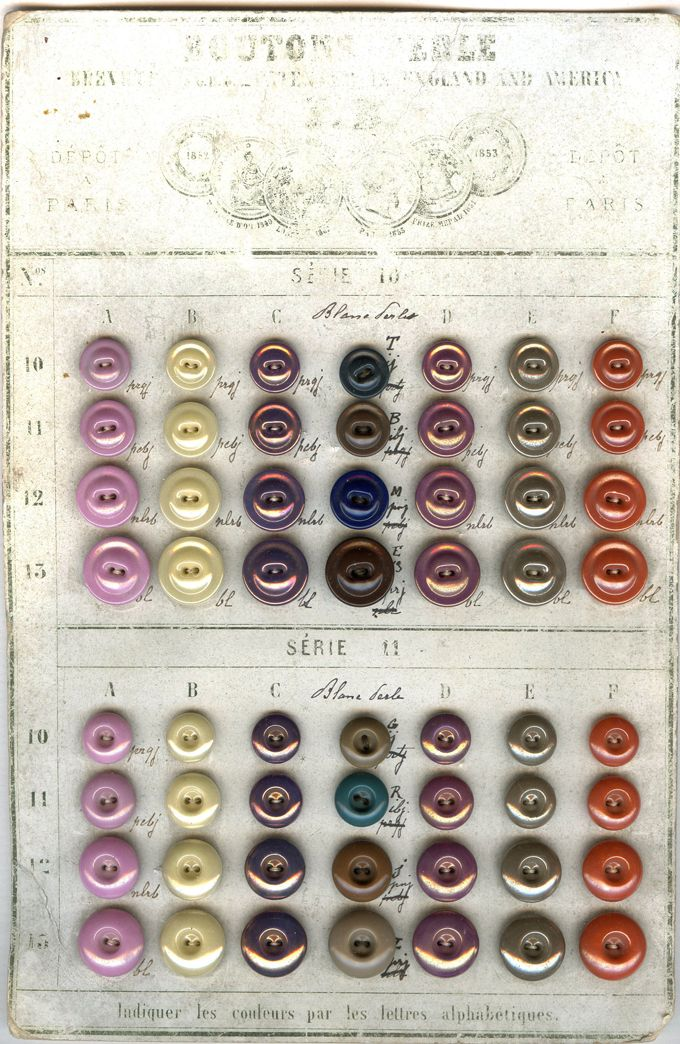 Bapterosses buttons sample card showing mounds and deepwells with remarkable lusters. CHINA BUTTONS
