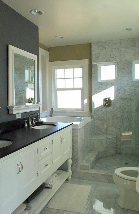 Master bathroom with small floor plan things i would - Small bathroom with tub ...