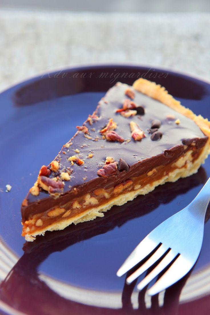 Tarte Caramel chocolat noix de pécan
