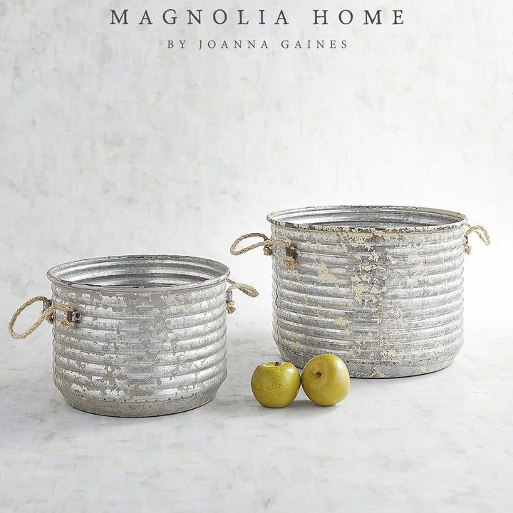 Go ahead and put all your apples in the same bucket. These corrugated metal buckets with their charming rope handles are the perfect rustic accent and catch-all. What will you put in them—floral arrangements or maybe towels for the guest bath? The options are endless. Part of the Magnolia Home Collection by Joanna Gaines. | Farmhouse style, fixer upper, rustic home decor #ad