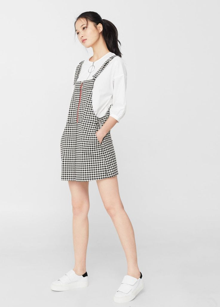 Houndstooth pinafore dress | MANGO