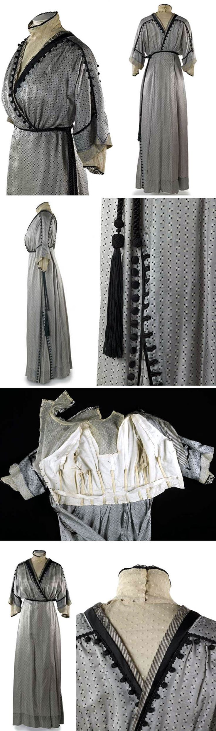 Day dress, ca. 1911-13, in silver-gray silk foulard with tiny striped print of white cigar shapes with black spots at ends. Gilet front is spotted ivory net to match sleeve end & cuffs. Raised waistline defined by black twisted silk cord sash. Left side of skirt has panel of fabric let in, cut cross-grain. Decorative black satin buttons & black silk cord buttonholes stitched on either side. Would have been worn over long, lightly boned corset & princess petticoat. Museum of London