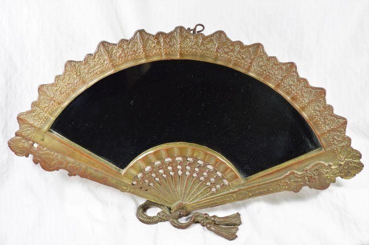 Gorgeous ART DECO Brass Fan Boudoir Mirror Self Standing, Highly Ornate c.1920