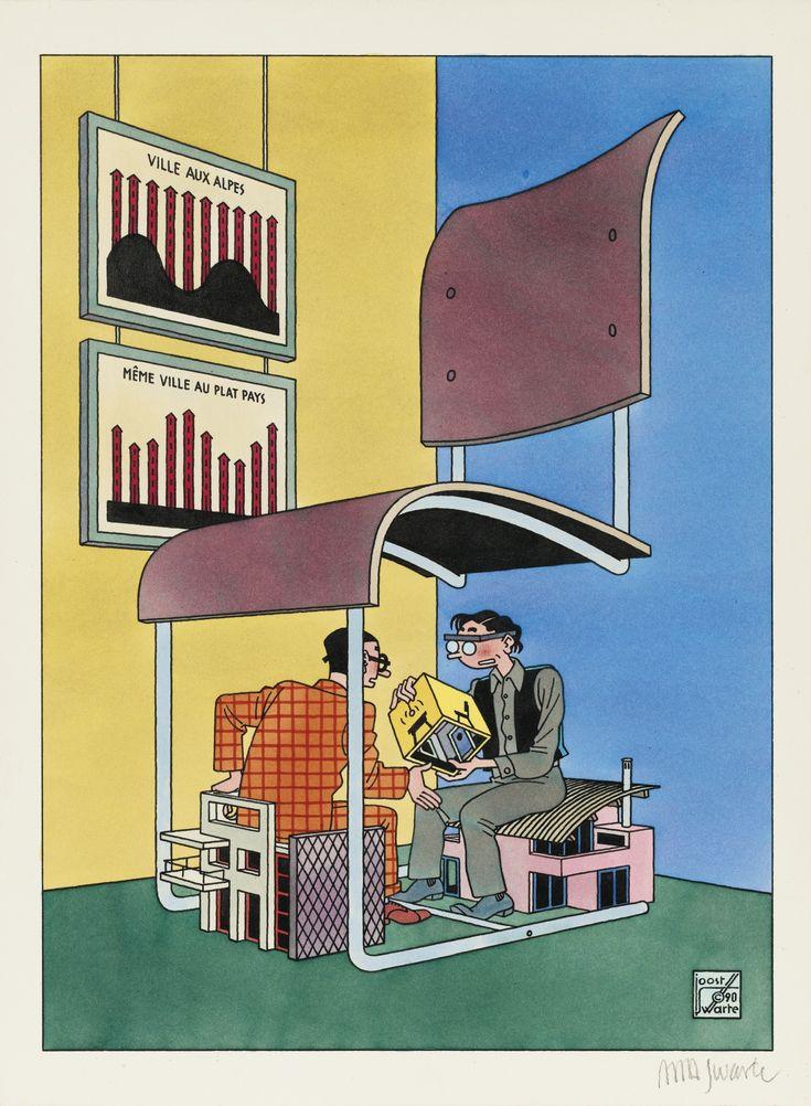 Le débat entre architectes, par Joost Swarte. Couverture pour le magazine Architecture d'Aujourd'hui, N°272, décembre 1990.