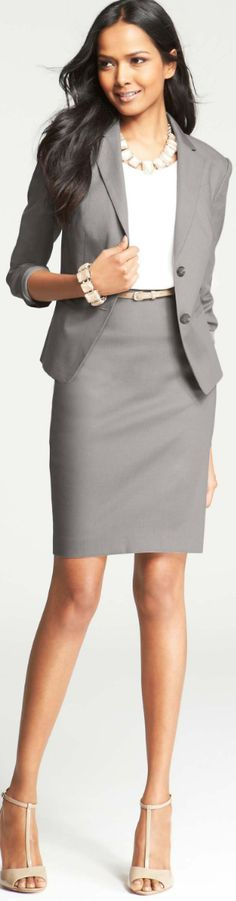 gray suit, white blouse. @roressclothes closet ideas women fashion outfit clothing style