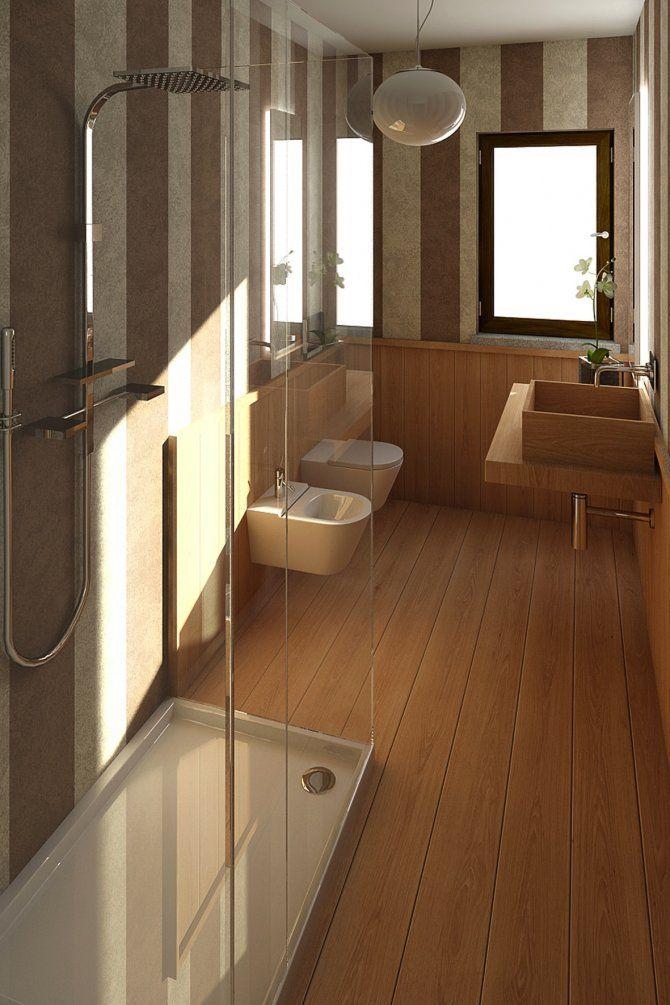Appartamento a Foppolo - interior design - -Il bagno è stato realizzato con effetto tappezzeria, il parquet a pavimento continua anche in questo ambiente conferendo una continuità spaziale in tutte le camere della casa.  Mobile a disegno Mosaico SICIS Box Doccia VISMARA Sanitari FLAMINIA Miscelatori FANTINI