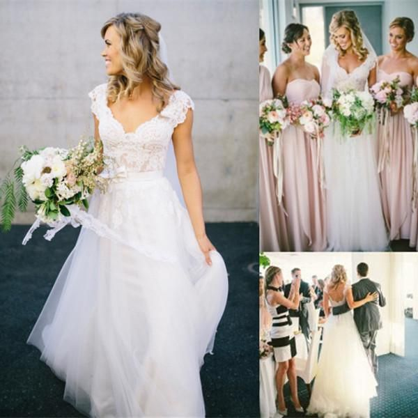 Vestidos de boda bohemios del estilo del Hippie para el envío libre BRITÁNICO Diseño 2015 de la venta con las faldas largas 2016 Vestidos baratos nupciales baratos del país de la playa de Boho