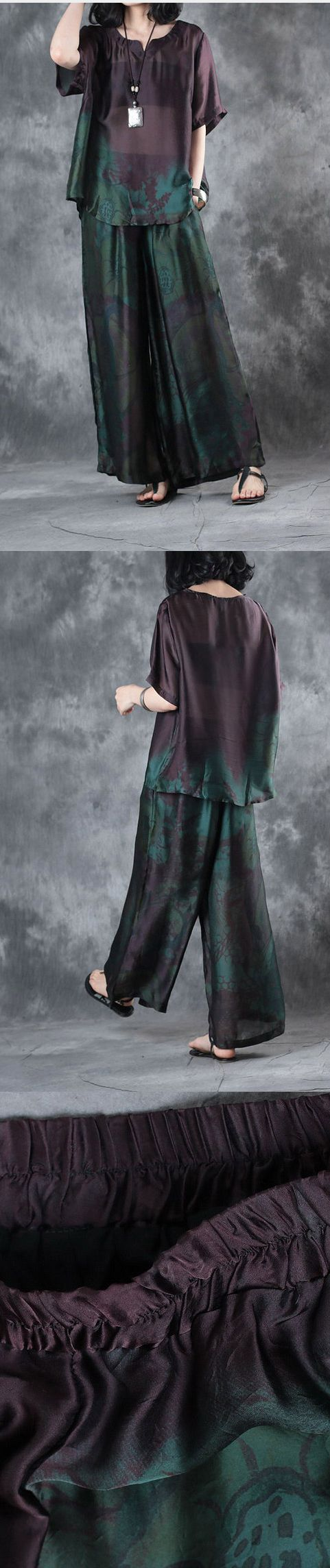 2017 summer new  dark purple  plus size pullover shits and wide leg pants skirt