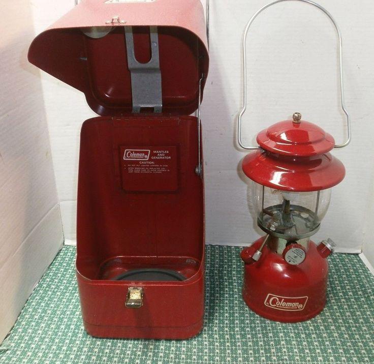 Vintage 1970 Red Coleman Lantern 200 A w/ Carrying Case_Pyrex Coleman Globe