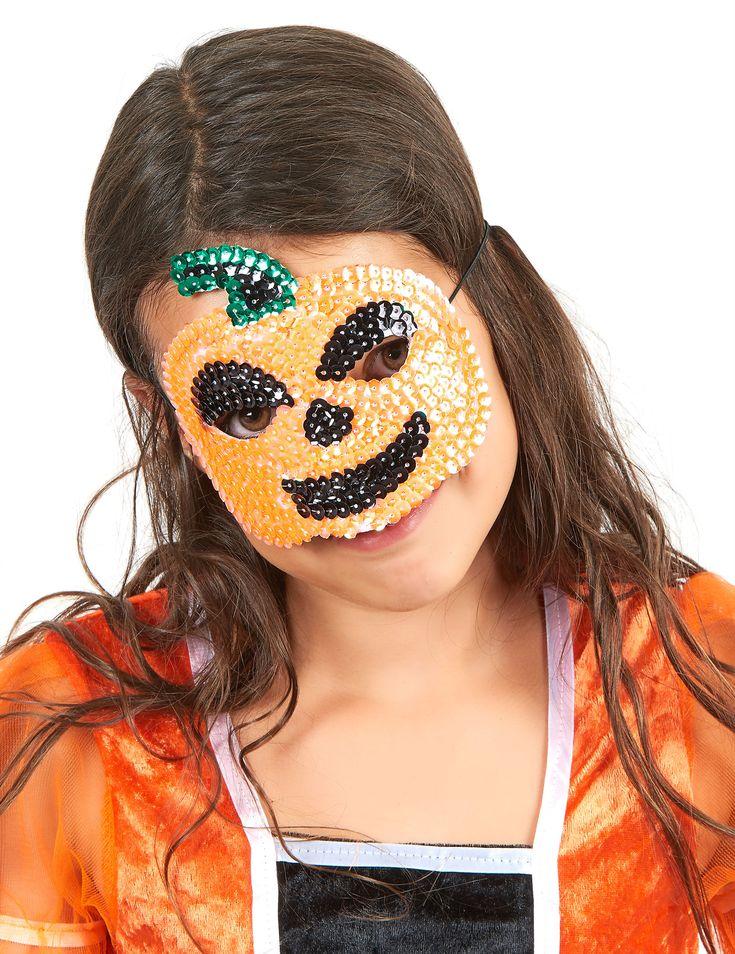 Mezza maschera da zucca di Halloween con paillettes: Questa mezza maschera da zucca di Halloween è per bambino.Essa è realizzata in stoffa nera, completamente rivestita di paillettes.Dimensioni:14 x 12.5 cm.Per un Halloween brillante,... #halloween #maschere #halloweenmaschere