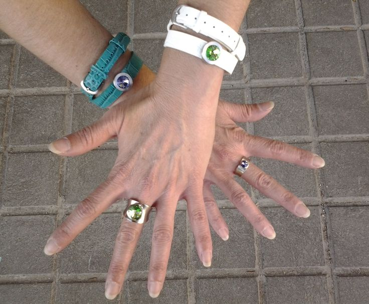 Rings and bracelets of fine stainless steel and swarovski® crystals